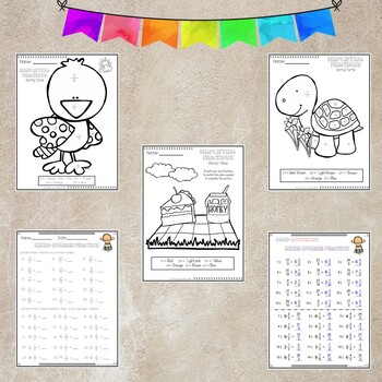 Fractions Activity Spring Time, includes Mixed and Improper Fractions