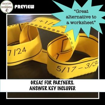 Add and Subtract Fractions Paper chain Activity  (7.NS.A.3.)