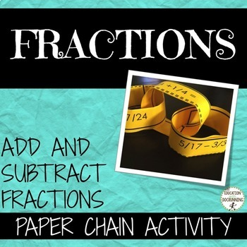 Add and Subtract Fractions Practice and Review Activity  (