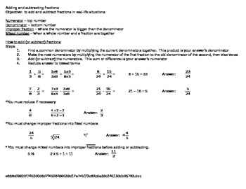 Fractions Add and Subtract Notes