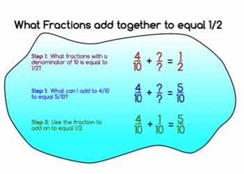 Fractions: Add or Subtract to make 1/2