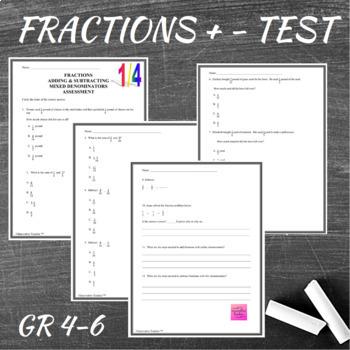 Fractions Add/Sub Mixed Denominators Assessment