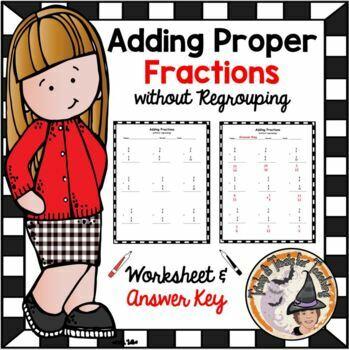 Add Proper Fractions Adding Proper Fractions Practice Worksheet
