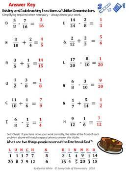 Fractions: Adding & Subtracting Like and Unlike Denominators