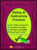 Fractions: Adding & Subtracting Like and Unlike Denominators