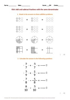 Fractions:  Adding and Subtracting