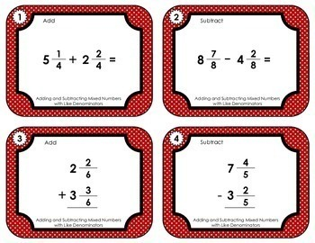 Fraction Task Cards  - Add and Subtract Mixed Numbers with Like Denominators