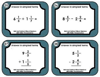 Fraction Task Cards - Add and Subtract  Mixed Numbers with Unlike Denominators