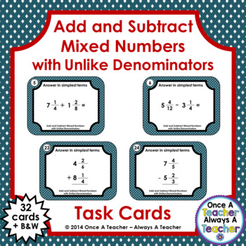 Fraction Task Cards - Add and Subtract  Mixed Numbers with