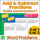 Fraction Worksheets: Add Subtract Unlike Denominators PACK