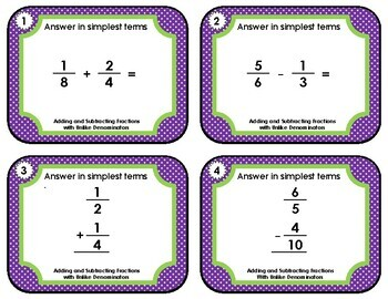 Fraction Task Cards - Adding and Subtracting with Unlike Denominators