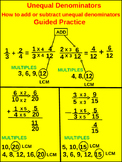 4th & 5th Fractions: Guided Practice Unequal Denominators (32 worhsheets)