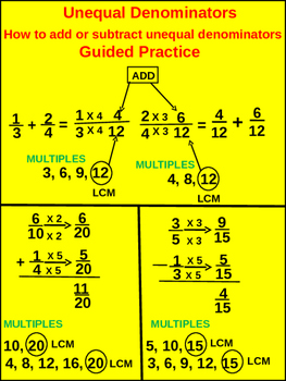 4th & 5th Fractions: Guided Practice Unequal Denominators