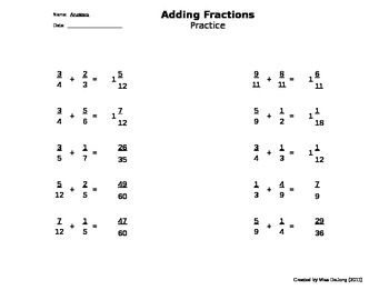 Fractions: Adding with Unlike Denominators - self-generating worksheet