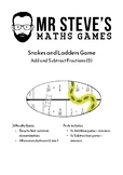 Fractions Addition and Subtraction Snakes and Ladders game