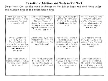 Fractions: Addition and Subtraction Sort