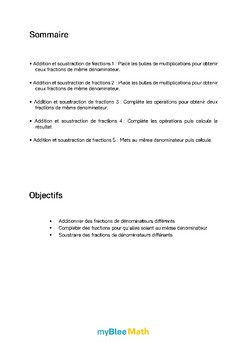 Fractions - Addition et soustraction de fractions -6e et plus