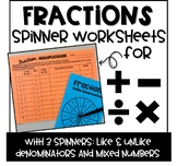 Fractions All Operations Spinner Game Bundle