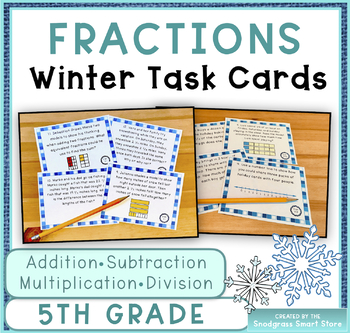 Fractions BUNDLE: Winter Theme (Adding, Subtracting, Multiplying, Dividing)