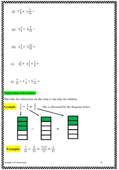 Fractions: All four operations with examples, applications and answers
