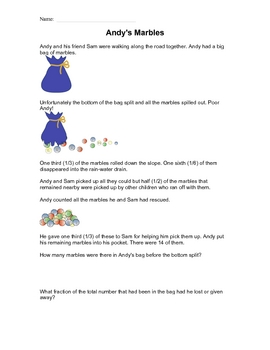 Fractions - Andy's Marbles Worksheet
