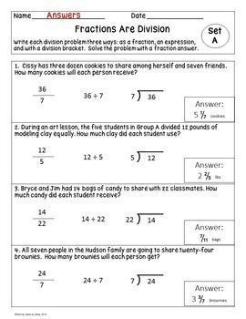 Fractions Are Division Worksheets! 5.NF.3 Word Problems: Pack 2!
