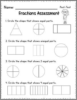 Fractions Assessment 1st Grade