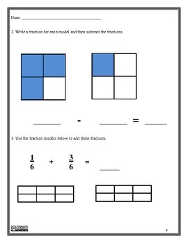 Fractions Assessment 4.NF.3 and 4