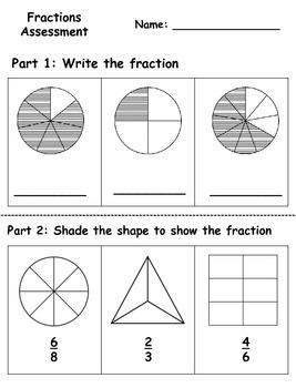 Fractions Assessment {FREEBIE}