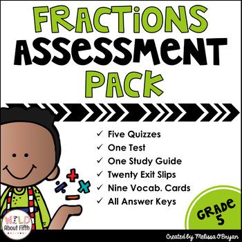 Fractions Assessment Pack Grade 5 - Common Core Aligned