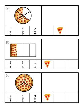 Fractions Assessment, Pizza Project, and Task Cards