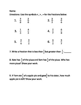 Fractions Assessment/ Quiz