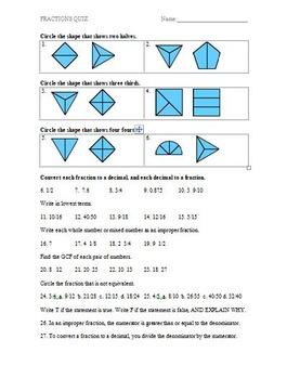 Fractions Assessment (Quiz)