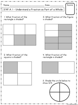 Fractions Assessments for 3rd Grade Common Core