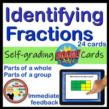 Fractions BOOM Cards! (24 Self-checking Cards!) Identifying Fractions Grades 2-4