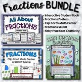 Fractions BUNDLE --- Fractions Book, Posters, Clip Cards, SCOOT & Craftivity