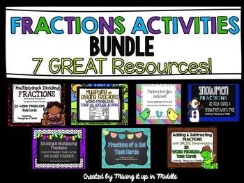 Fractions **BUNDLE** of 7 Math Center Resources/Task Cards