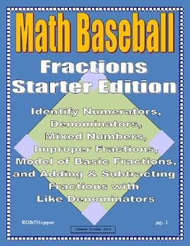 Fractions Baseball Game-Starter Pack