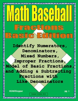 Fractions, Mixed Numbers, & Improper Fractions Baseball Game