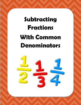 Math: Fractions - Basic Subtraction with Common Denominators. 3 pgs of 8 prblms.