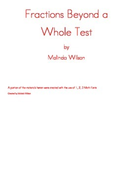 Fractions Beyond A Whole Test