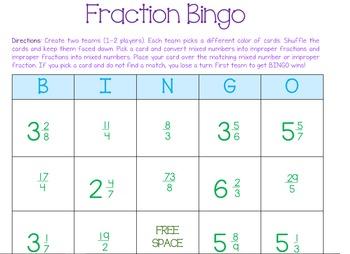 Fractions Bingo