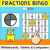 Fractions Bingo Game - Fractions of Shapes & Fractions on a Number Line