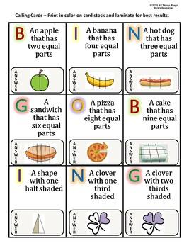 Fraction Bingo Game Grade 3