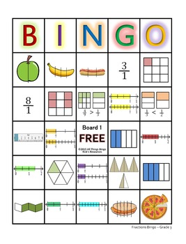 graphic relating to Fraction Bingo Printable known as Portion Bingo Video game Quality 3