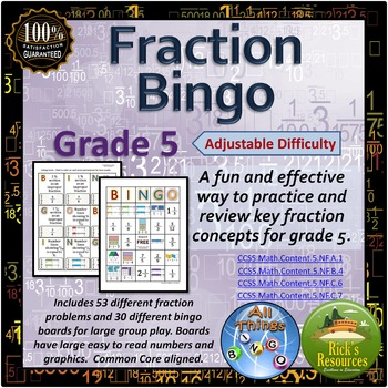 Fraction Bingo Game Grade 5
