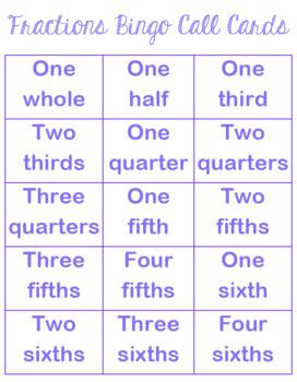 Fractions Bingo Math Game - Whole Class Set