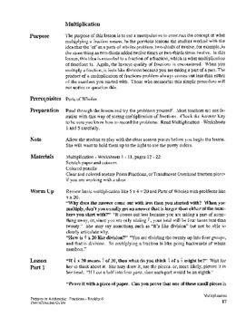 Fractions:  Booklet 6 - Teacher Guide Multiplying Fractions