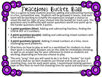 Fractions Bucket Ball Game