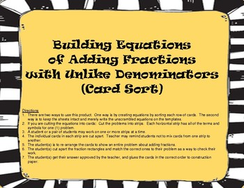Fractions: Building Equations - Adding Fractions Unlike De